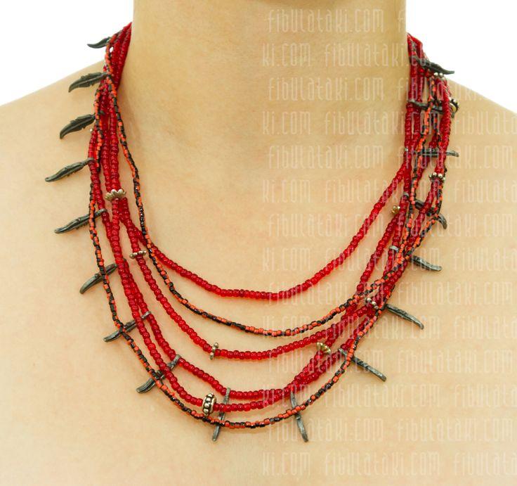 Fibula Takı - Salkım Saçak Serisi / Kolye - boncuk - metal - kırmızı