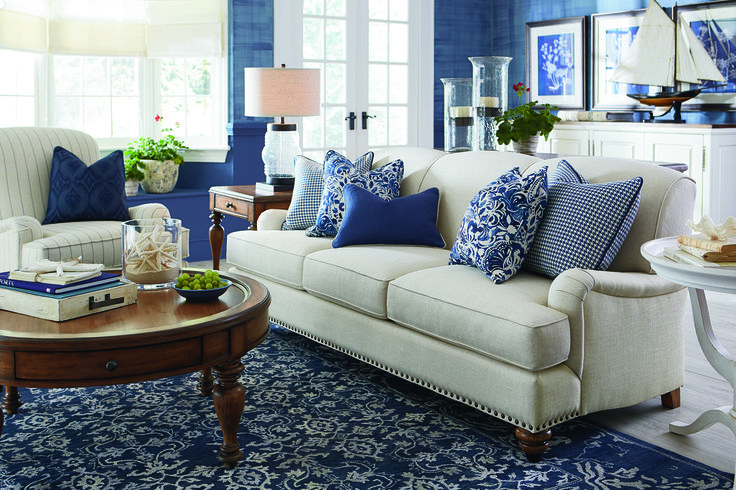 Fall Decor in Navy and Blue | Wainscoting, Batten and Living rooms
