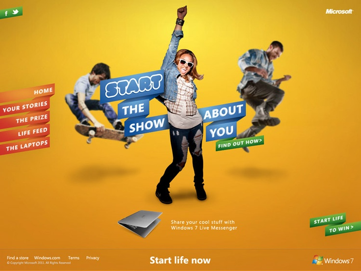 griffinabox - Start Life campaign for Microsoft - Homepage design