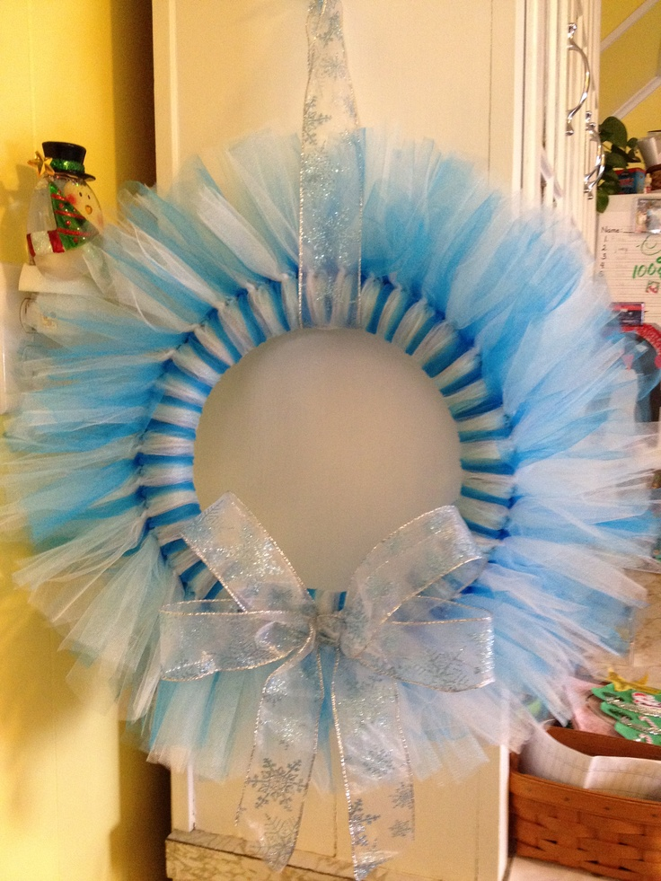 Tulle wreath - great for a new baby boy door hanger!