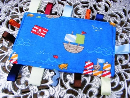 Baby & Toddler Tactile Comfort Blankets - Blue with Pirate Ships