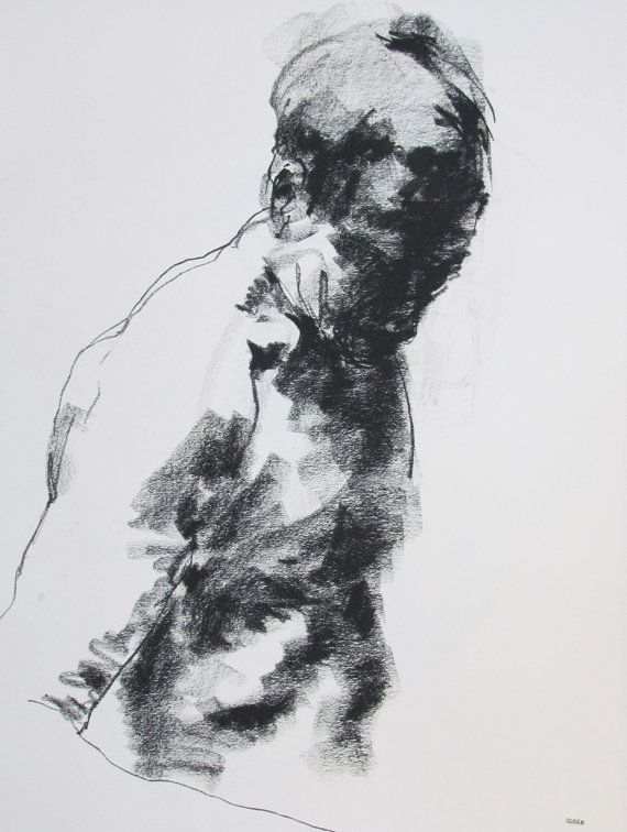 Abstract Figure Drawing - 18 x24,  fine art - Drawing 124 - charcoal on paper - original drawing