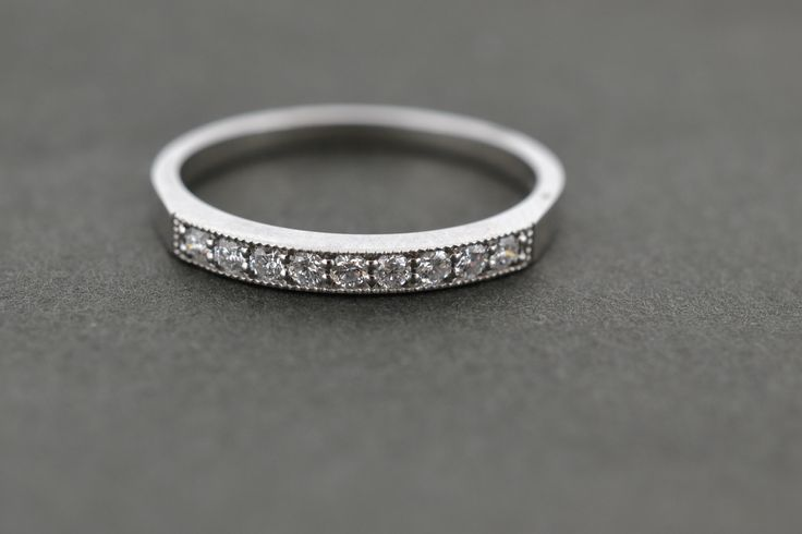 Platinum and diamond millegrain wedding band