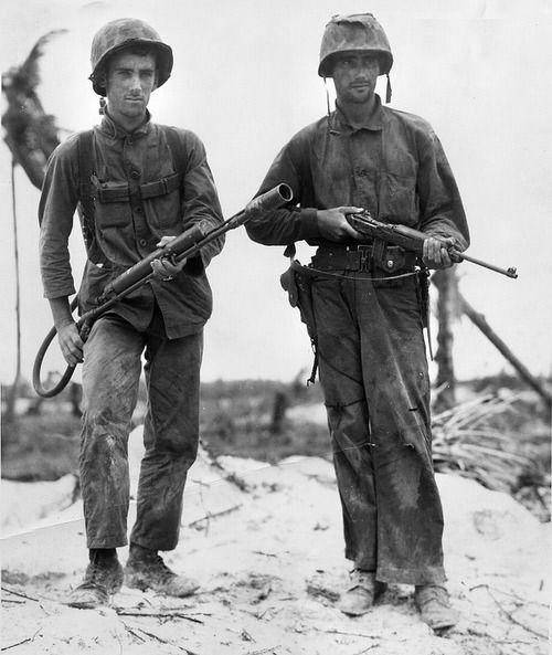 Two US #Marines on #Peleliu, 1944
