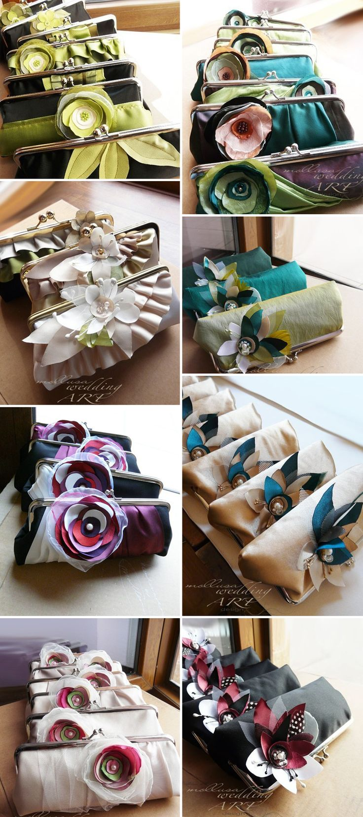Bridesmaids gifts Clutches from Mollusa- These are gorgeous, but I think you could DIY them by getting cheap plain clutches and then decorating them to match your wedding color palette.  Love this idea though!