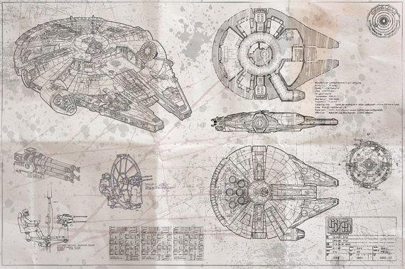 Millennium Falcon Blueprint (whiteprint edition)   Millennium Falcon, Star Wars Poster Art Print. Due to the popularity of the original blue