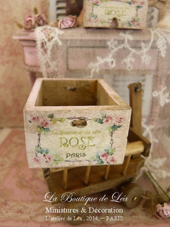 "Schäbige Holzkiste ""Rose Paris"", Distressed pink, Dekoratives Accessoire für …   – Wood Crafts"
