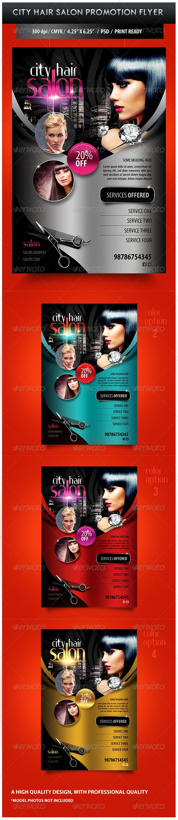 City Hair Salon Promotional Flyer Design Template - Miscellaneous Events Flyer Design Template PSD. Download here: https://graphicriver.net/item/city-hair-salon-promotional-flyer/3674308?ref=yinkira
