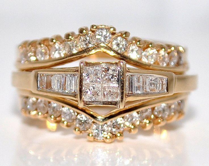 1ct diamond wedding set engagement ring jacket enhancer 14k gold princess cut - Wedding Ring Jackets