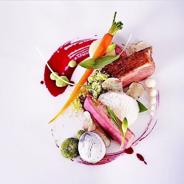 Duck, pheasant, asparagus, potato stones, carrot, wild garlic, and truffle by @pawelkinowski #TheArtOfPlating