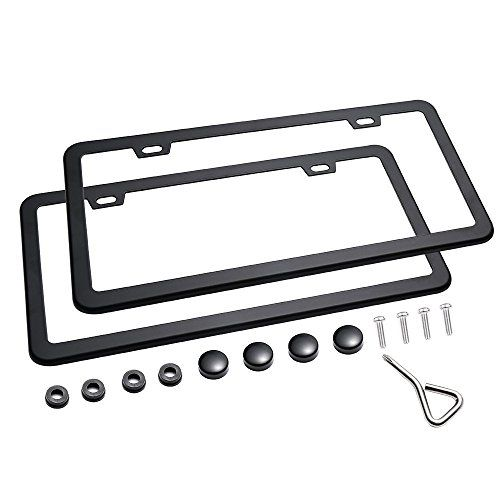 Ohuhu 2 PCS License Plate Frames New Slim Black License Plate Covers WONT Block Letters / Stickers