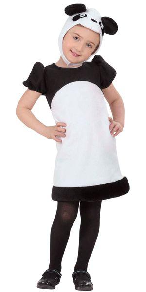Panda jurkje voor kleuters. Schattig panda kostuum voor kleine kinderen. Dit panda pakje bestaat uit het jurkje en het mutsje dat onder de kin is vast te zetten. Carnavalskleding 2015 #carnaval