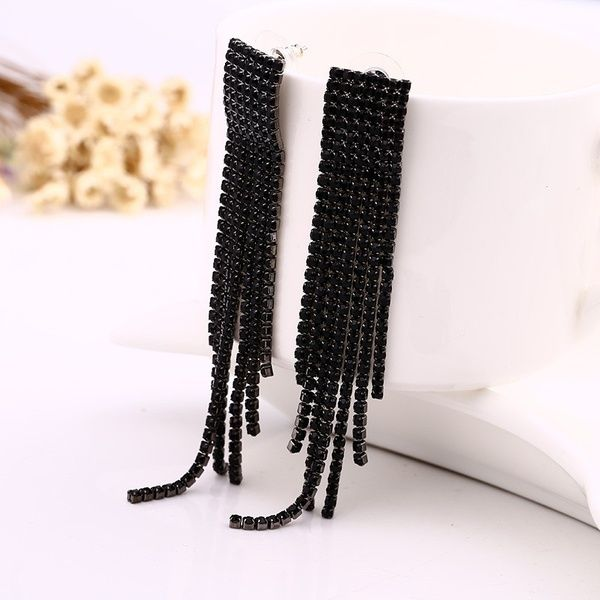 Full Rhinestone Long Thread Tassel Earrings Temperament Big Earring Jewelry