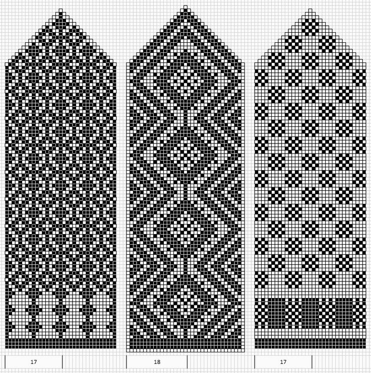 Basic patterns - could use the one on the left for a great back/palm side.  I like the middle one too.