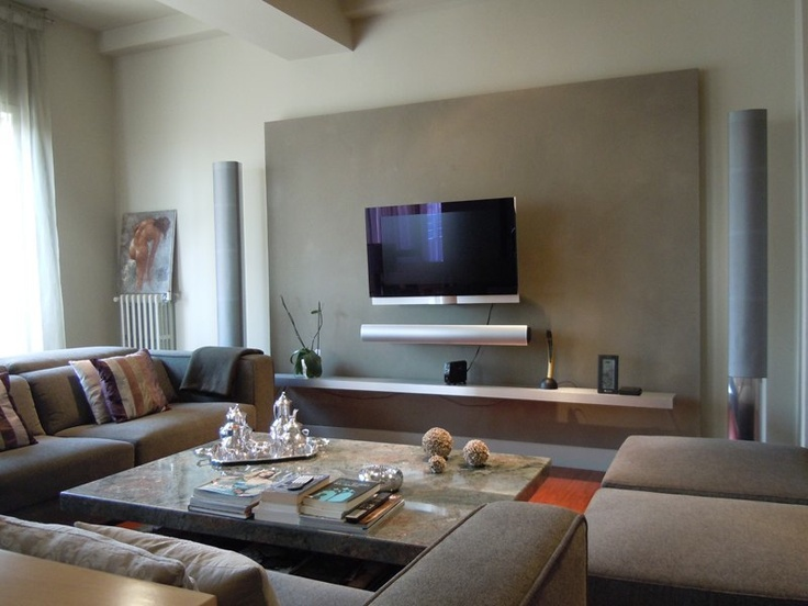 Sala De Estar E Tv ~  Contemporáneo #Sala de la TV #Sala de estar #Muebles de TV #Sofas