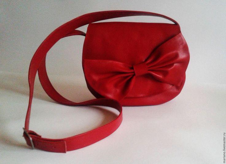 Купить Сумочка с бантом - ярко-красный, однотонный, женская сумка, сумка ручной работы