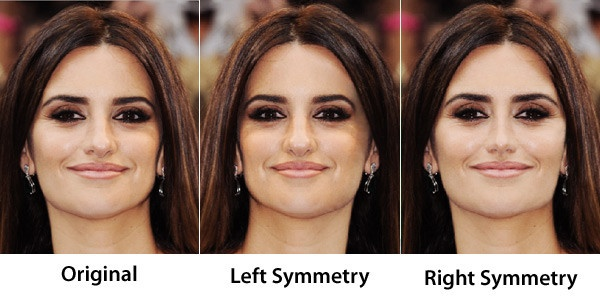 "Proof that everyone really does have a ""good"" and ""bad"" side. Except Penelope Cruz. She's just... damn her.: Face Symmetry, Beautiful Celebrities, Faces Prove, Celebrity, Beauty Rule, Favorite Celebrities, Celebrities Face, Penelope Cruz"