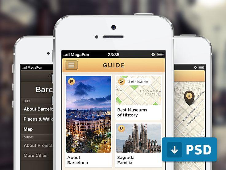 Dribbble - Guide App (free .psd) by Sergey Minkin