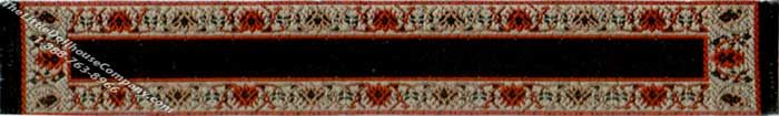 "This dramatic miniature runner makes a bold statement. The black background is interrupted by the wide gold border. The border is accented with large, bright red flowers. The runner extends out to a long, glossy, black fringe.  Dimensions: 6-1/4"" long x 7/8"" wide."