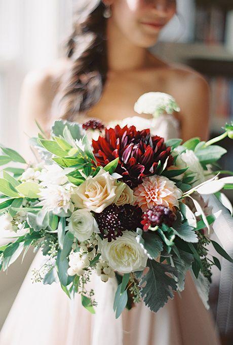 Romantic Dahlia & Rose Centerpiece | Best Burgundy bouquet ...