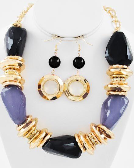 Gold Tone / Black Acrylic / Necklace & Fish Hook Earring Set