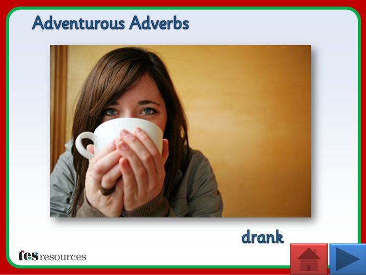 Interactive teaching activity where pupils think of adverbs that describe the verb contained in each photo shown. Includes supporting worksheets in a mind map style.