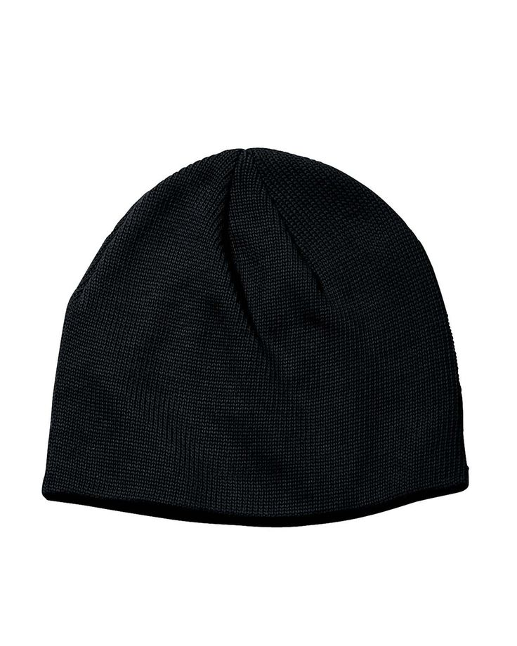 "ECOnscious 100% Organic Cotton Thin Rib Beanie (Black). 100% organic combed cotton yarns. Sweater knit ribs. 9"" high."