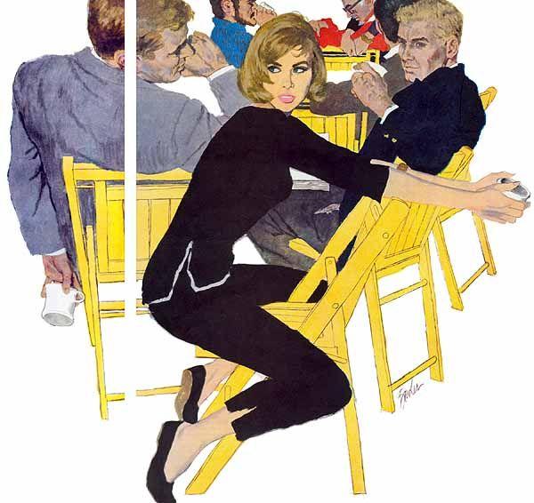 """Saturday Evening Post,  """"The Beautiful Beatnik"""", 1960, Joe Bowler."""