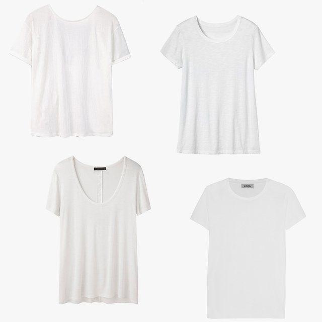 Mango knot detail T-shirt, $26, mango.com; Toast linen short-sleeve tee, $88, toa.st; Totême Duba modal and cotton-blend jersey T-shirt, $110, net-a-porter.com; The Row Sabeen top, $280, lagarconne.com