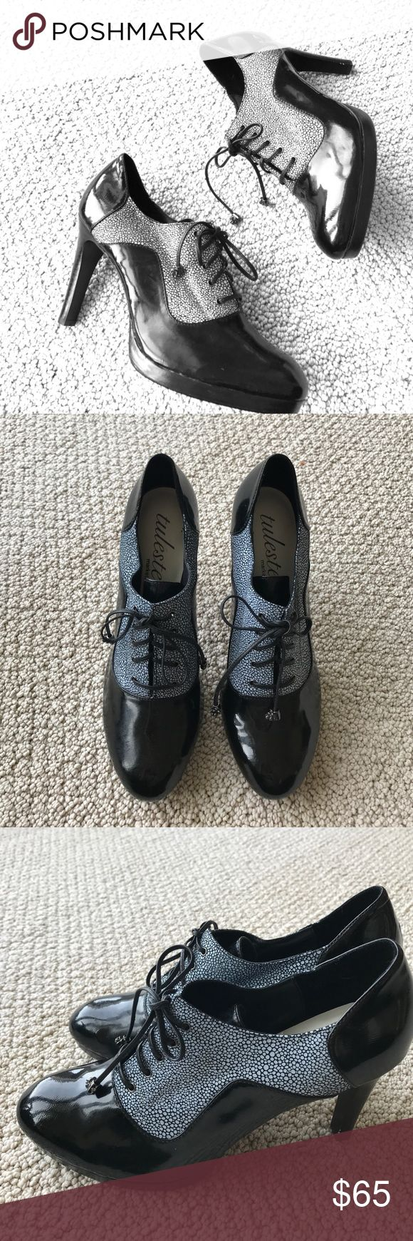 """Black and White Leather Lace-Up Ankle Booties So cute and perfectly on trend! Excellent condition (one small mark on heel in pic 6). Laces have a cute embellishment at the ends. 4"""" heels. 0.5"""" platform. No trades please! Tuleste Market Shoes Ankle Boots & Booties"""