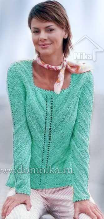 Вязаный пуловер с диагональным узором