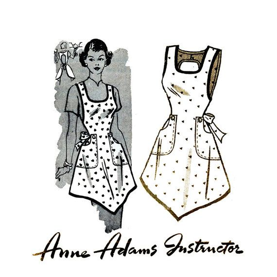 1950s One Yard Apron Pattern Anne Adams 4718 Bust 36 38 Womens Vintage Mail Order Sewing Pattern Misses Full Pullover Bib Kitchen Apron