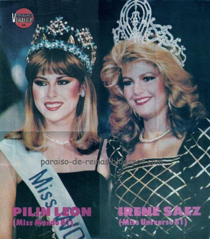 Las Venezolanas Irene saez y Pilin Leon miss Universo y Miss Mundo 1981