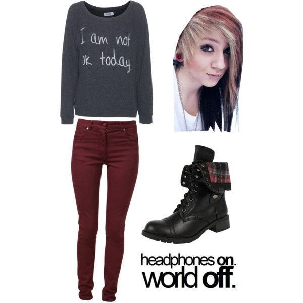 Simple outfit for running late to school/emo styled | Emo Polyvore fashion and School
