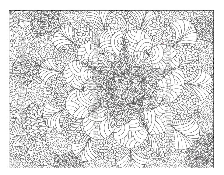 Mehndi Zentangle : Pen illustration printable coloring page zentangle
