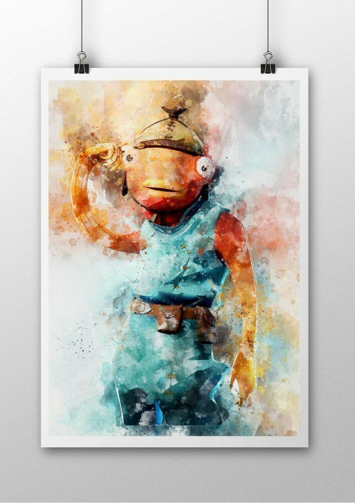 Fortnite Fishstick A4 Watercolour Poster Ps4 Xbox Pc