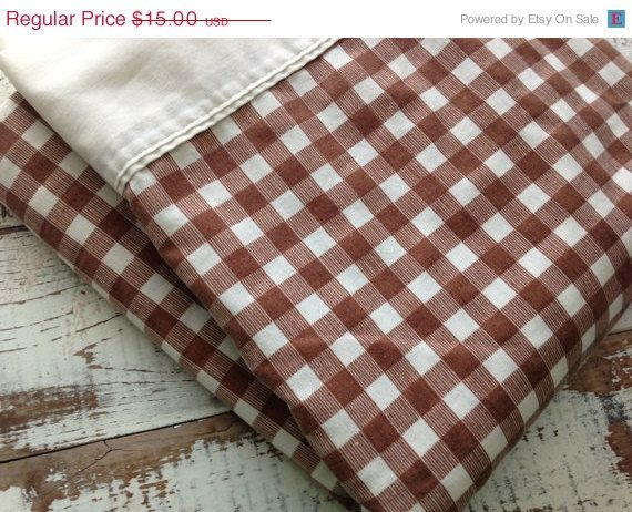 25% OFF WEEKEND SALE Vintage Flat Sheet-Retro Brown by whimsiedots (Home & Living, bed linens, bed sheet, flat, retro, brown, cotton, polyester, whimsiedots, brown bed sheet, vintage bed sheet, brown and white, checked, gingham)