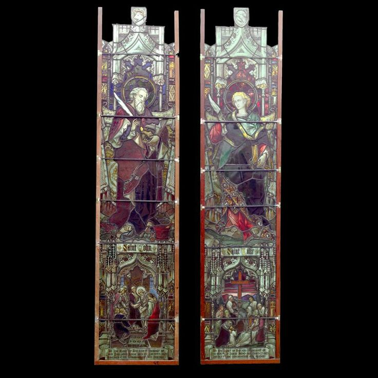 Spectacular antique Victorian church stained glass windows depicting Saint John and Saint Luke reclaimed from & 79 best Doors Windows u0026 Mirrors images on Pinterest | Mirrors ... pezcame.com