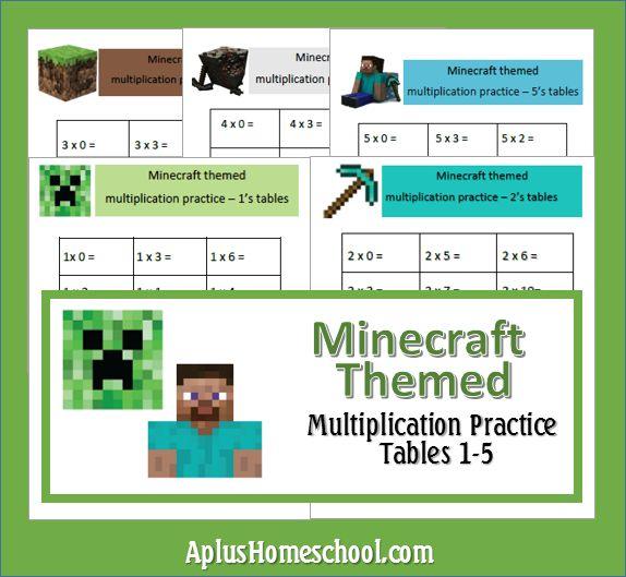 A+ Homeschool : FREE Minecraft Themed Math Sheets