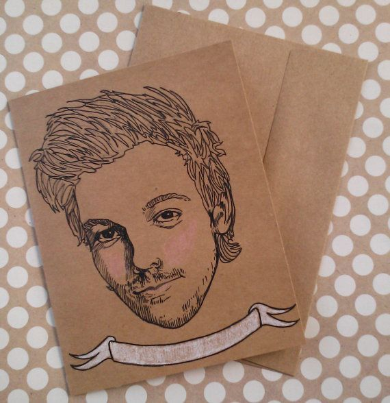 Louis Tomlinson/ One Direction/ 1D/ Illustrated/ Custom Message/ Greeting Card