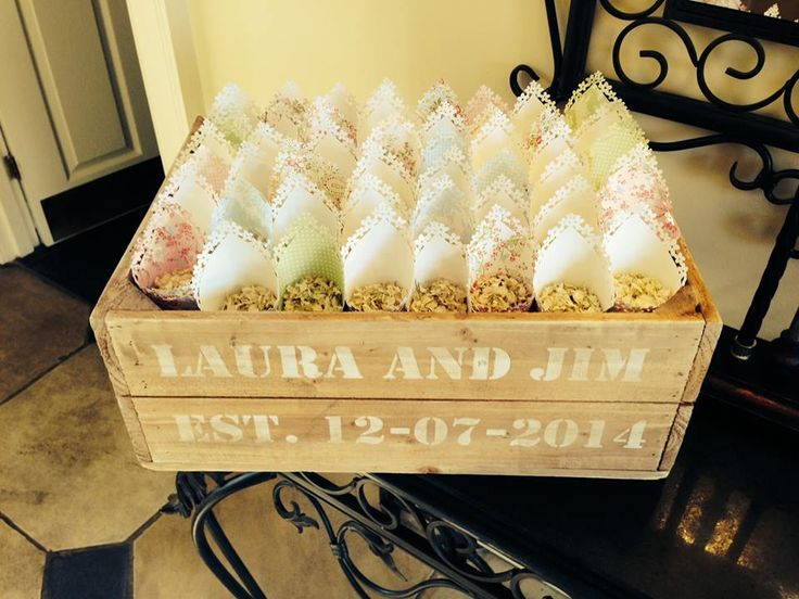 Alrewas Hayes Wedding Venue Country Staffordshire Exclusive Couple Apple Crate Confetti Cone Pastel