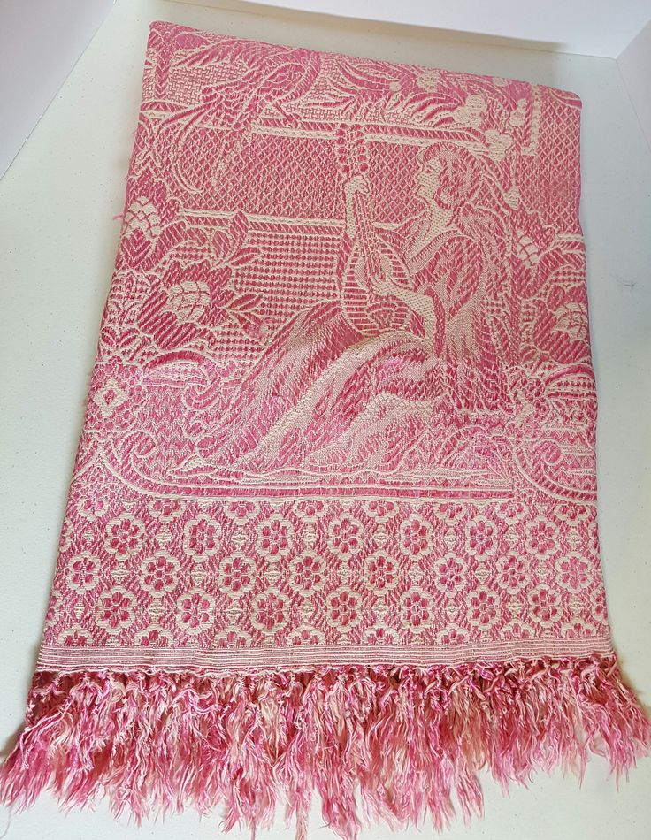Vintage Woven French Pink Chenille-Silk Blanket with tassels-Pink Victorian blanket-Cottage chic blanket-Mid century blanket-Bed corvette by AmourFabriQues on Etsy