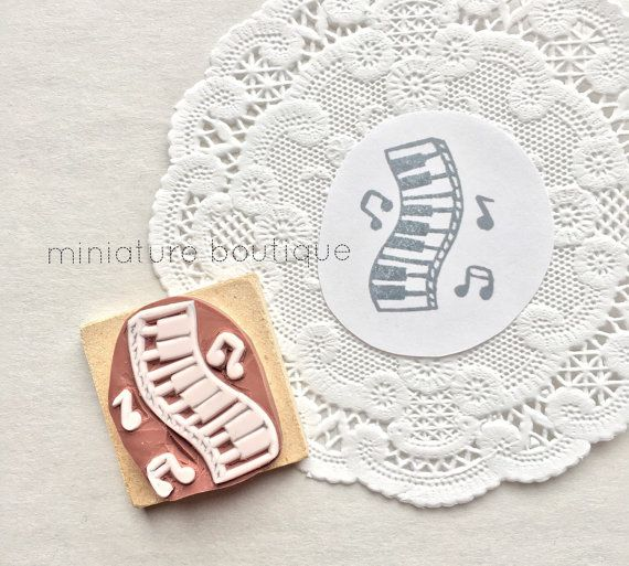 Music  Piano  Keyboard  Music Notes hand carved rubber stamp by miniatureboutique