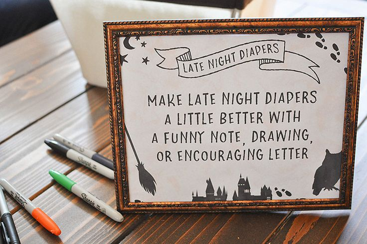 Harry Potter Baby Shower Late Night Diapers Game. How to plan Harry Potter Baby Shower complete with tons of Harry Potter Baby Shower Ideas to celebrate a tiny muggle including decorations, free printables, and food. Free Printable Harry Potter Baby Shower Invitations, Baby Shower Bingo, and Finish Mom's Phrase. Welcome Tiny Muggle Banner, DIY Quidditch Rings, and DIY Hogwarts Letters. You'll love this clever, magical  baby shower from start to finish. - Our Handcrafted Life