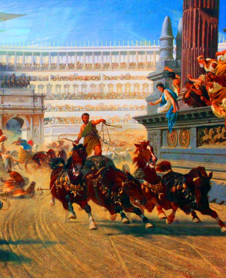 a comparison between the roman chariot races and the greek chariot races Chariot races were held in the town's circus, a large, oval-shaped arena with a  stone barrier down the middle, called a spina the races were very.