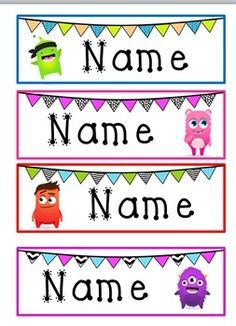 Monster & Bunting Desk Name Tags- Class Dojo