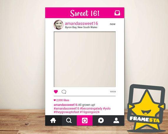 Sweet 16 Instagram Frame Digital File 16th Birthday by Framesta