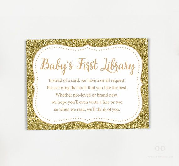 Gold Glitter Bring a book instead of a card by DearHenryDesign