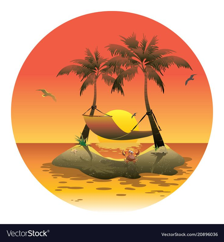 Cartoon island with a hammock at sunset vector image on ...