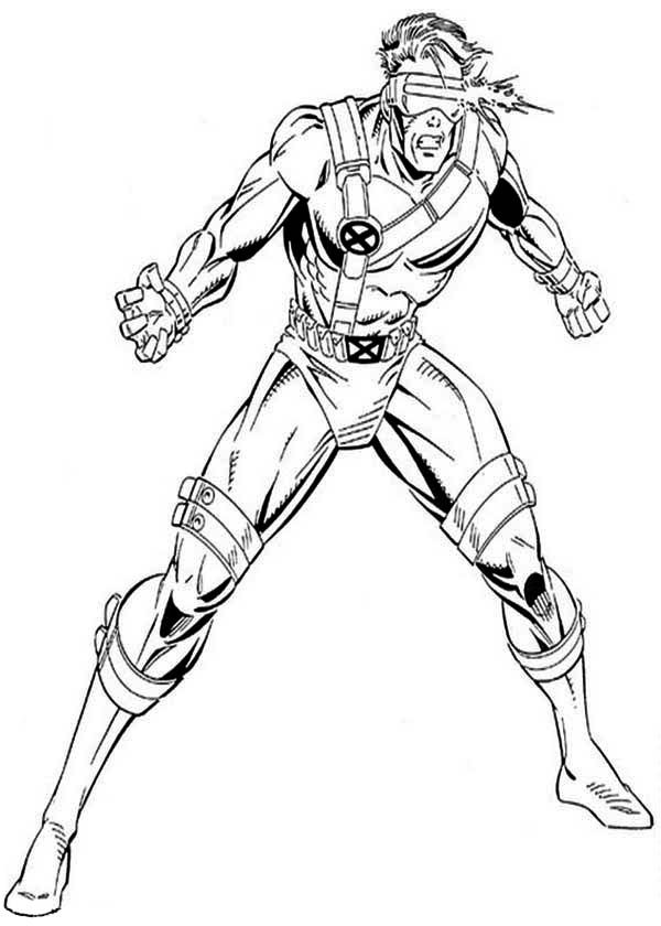 X-Men, : X-Men Cyclops Attack Coloring Page